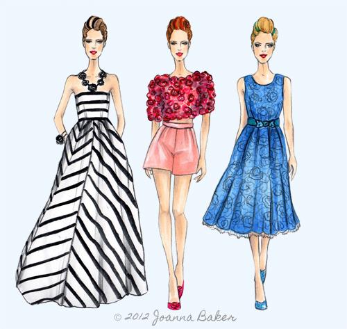 Oscar de la Renta Fashion Illustration by Joanna Baker
