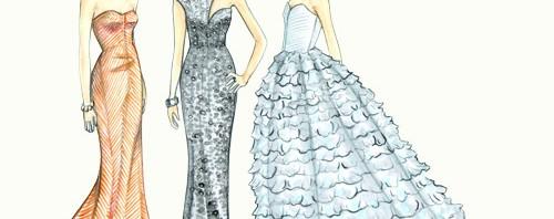Oscars Red Carpet Fashion Illustrations by Joanna Baker