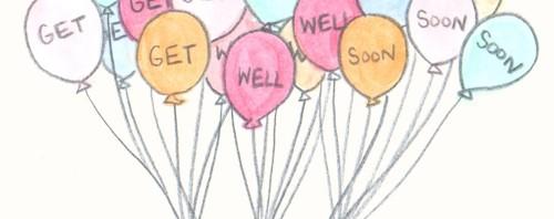 Get Well Soon Balloon Illustration by Joanna Baker