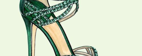 Green Jimmy Choo Fashion Illustration by Joanna Baker