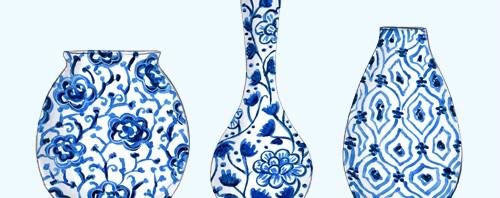 Blue Vases Illustration by Joanna Baker