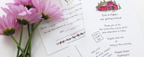Erin's Custom Wedding Invitation Illustrations by Joanna Baker