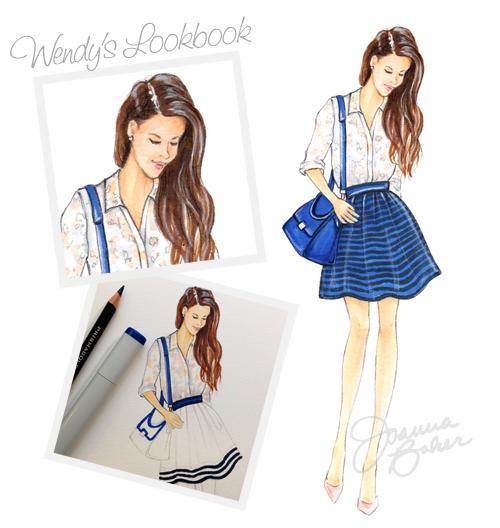 Wendy's Lookbook Blogger Inspired Fashion Illustration by Joanna Baker