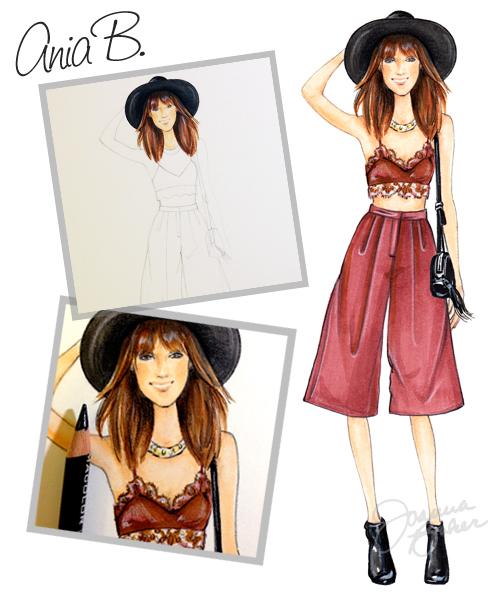 Ania B Blogger Inspired Fashion Illustration by Joanna Baker