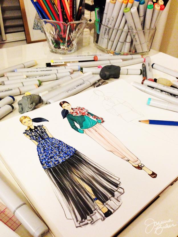 Delpozo Work in Progress Fashion Illustrations by Joanna Baker