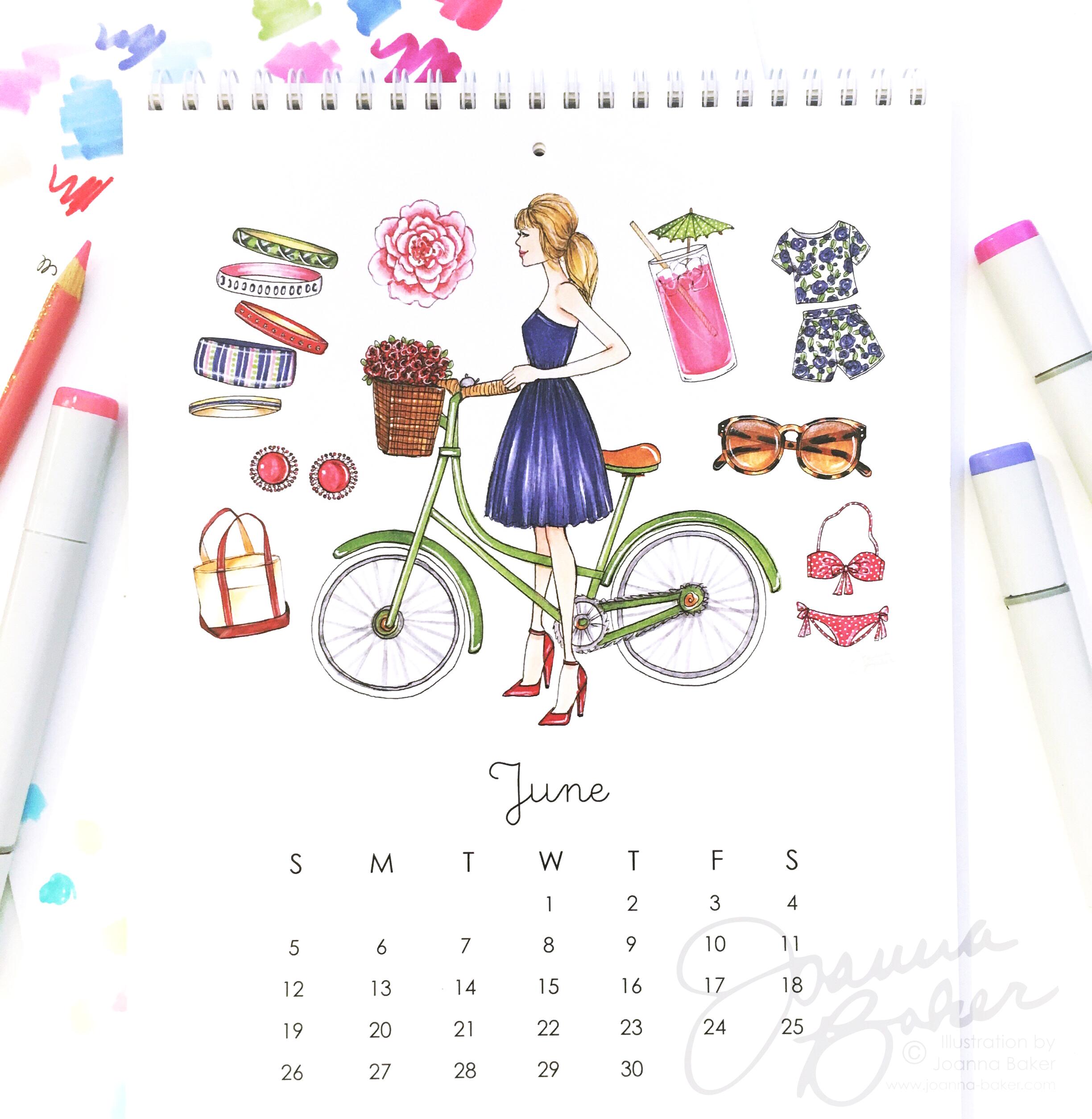 June: Favorite Things 2016 Illustrated Calendar by Joanna Baker