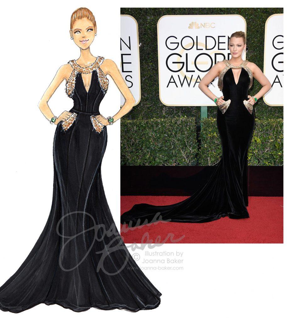 Golden Globes - Blake Lively Illustration by Joanna Baker