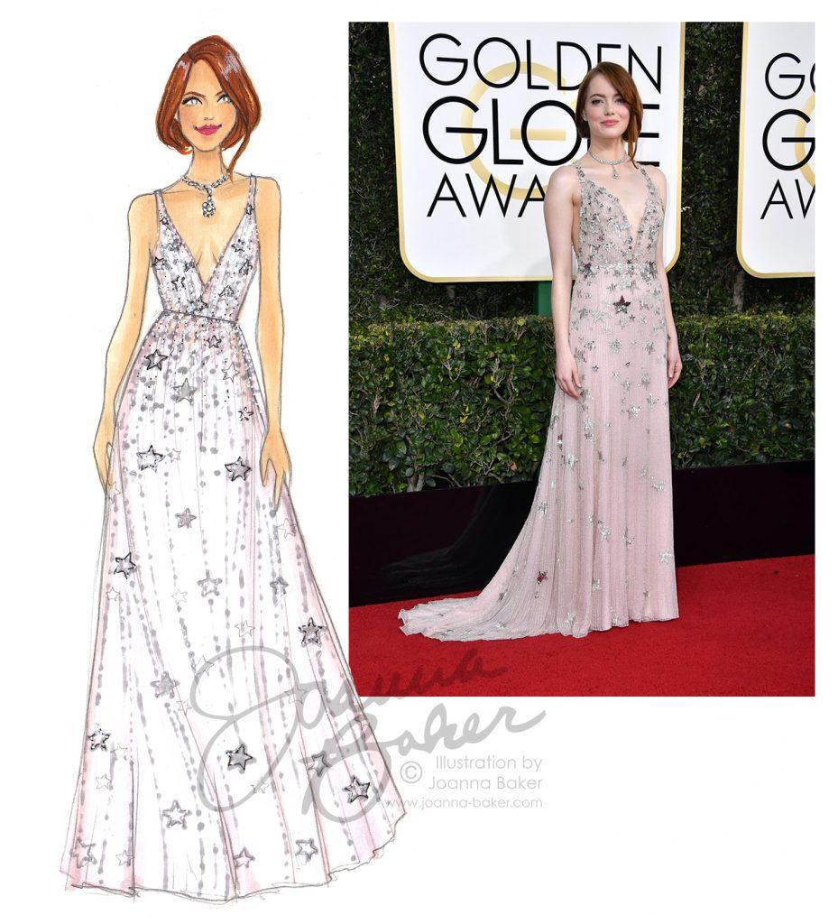 Golden Globes - Emma Stone Illustration by Joanna Baker