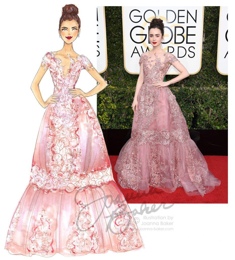 Golden Globes - Lily Collins Illustration by Joanna Baker