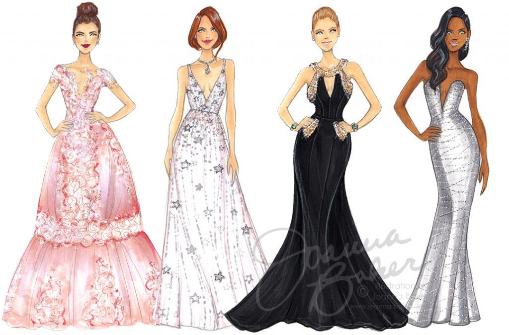Golden Globes Red Carpet Fashion Illustrations by Joanna Baker