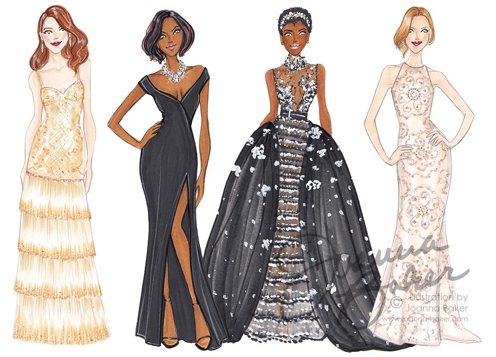 Oscars Red Carpet 2017 Fashion Illustrations by Joanna Baker