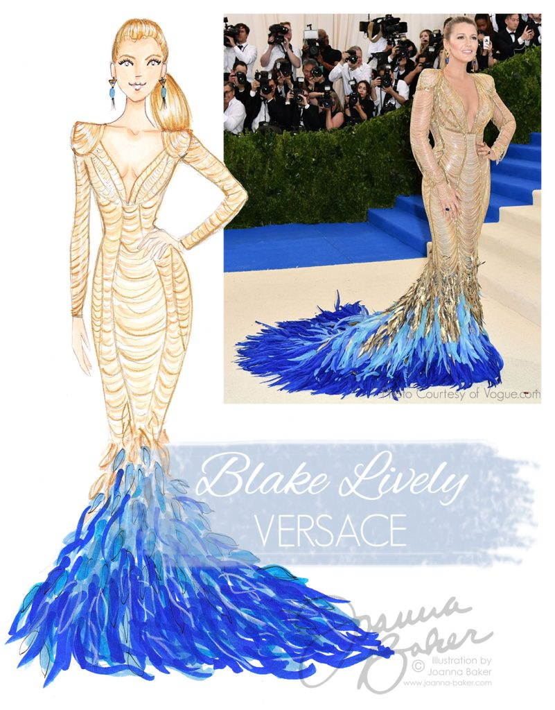Blake Lively Wearing Versace at the Met Gala 2018, Fashion Illustration by Joanna Baker