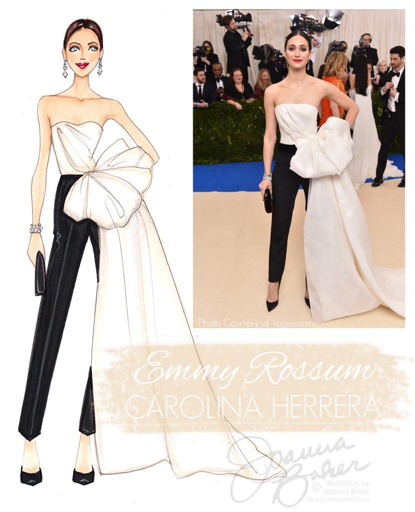 Emmy Rossum Wearing Carolina Herrera at the Met Gala 2018, Fashion Illustration by Joanna Baker
