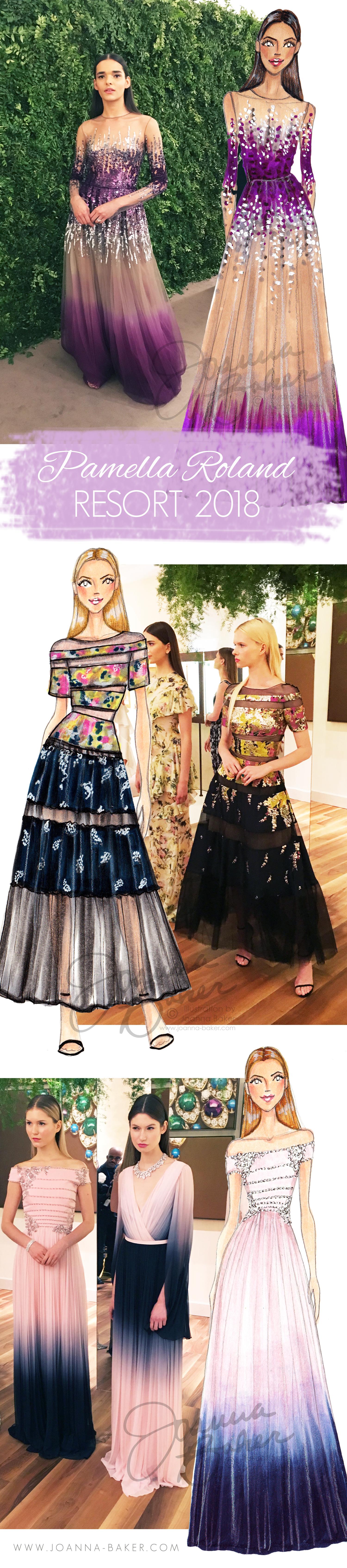 Pamella Roland Resort 2018 Fashion Illustrations by Joanna Baker