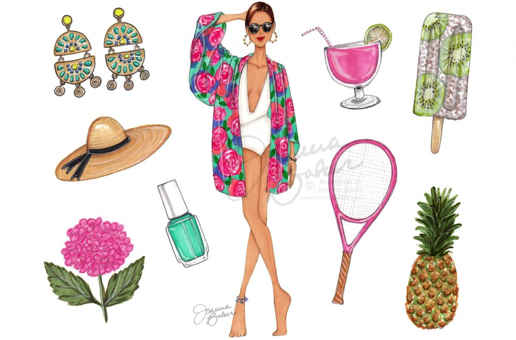 June Favorite Things Calendar Fashion Illustration by Joanna Baker