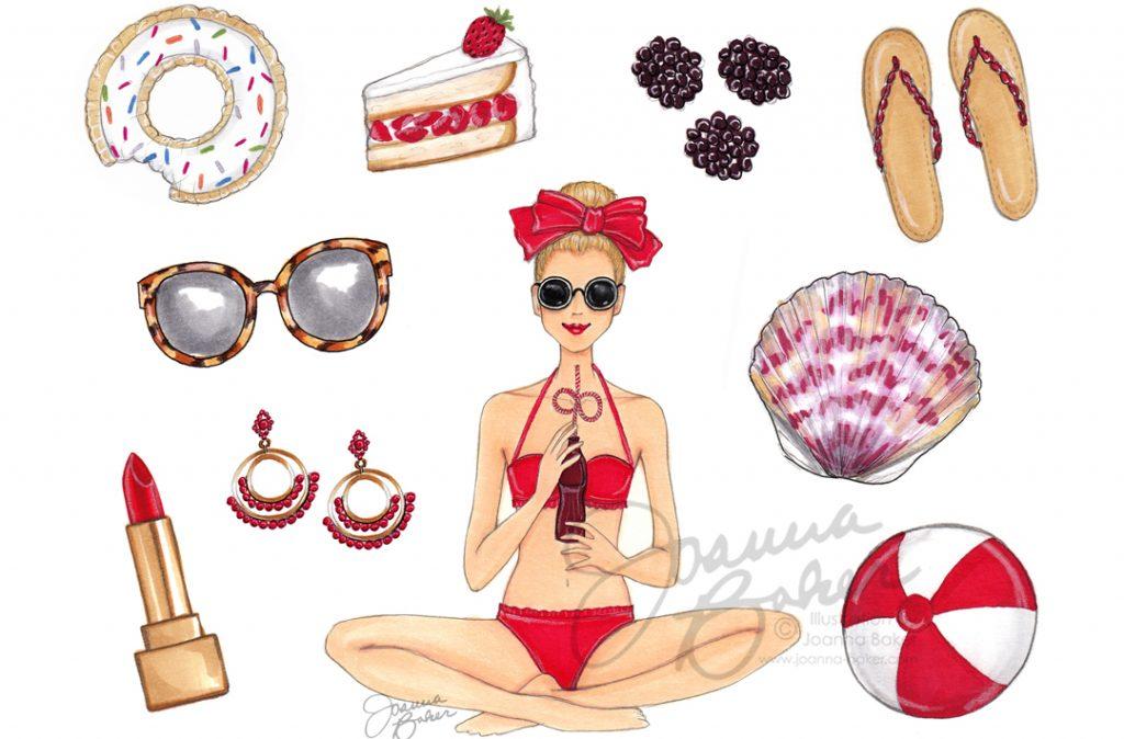 Joanna Baker Fashion Illustration July Favorite Things Calendar