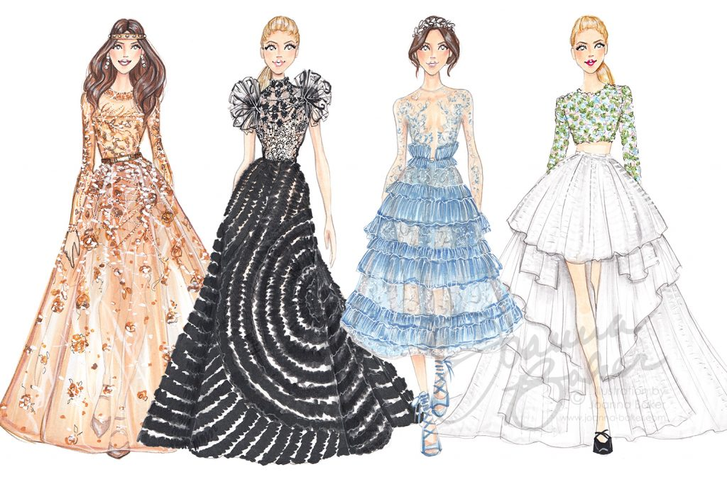 Couture Fashion Week 2017 Illustrations by Joanna Baker