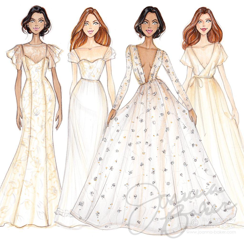 Jaclyn Jordan Fall 2018 Bridal Fashion Week Sketches by Joanna Baker