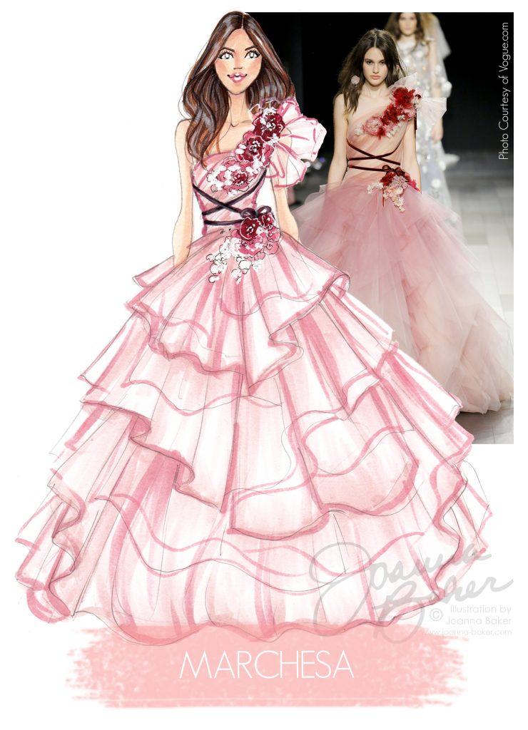 Marchesa Fashion Illustration by Joanna Baker