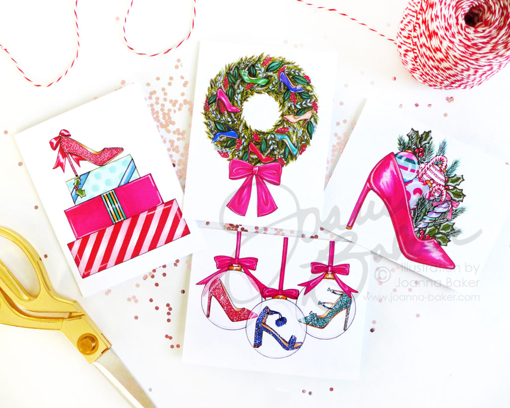 Holiday Shoe Greeting Cards by Joanna Baker