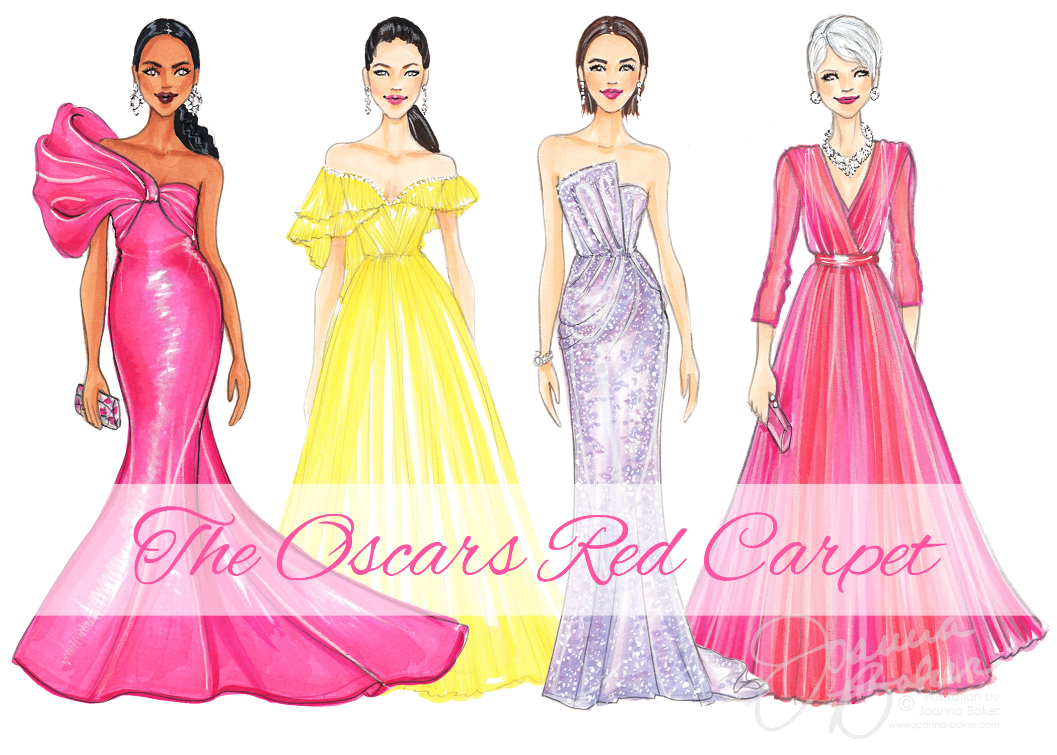 Oscars 2019 Red Carpet Fashion Illustrations by Joanna Baker