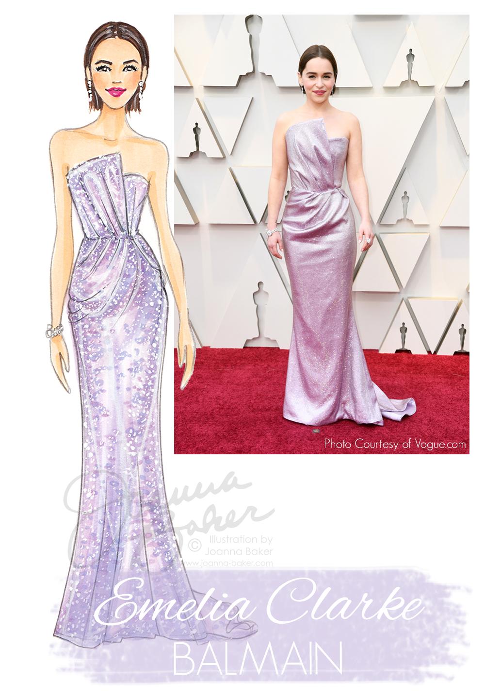 Emelia Clarke Oscars 2019 Red Carpet Fashion Illustration by Joanna Baker