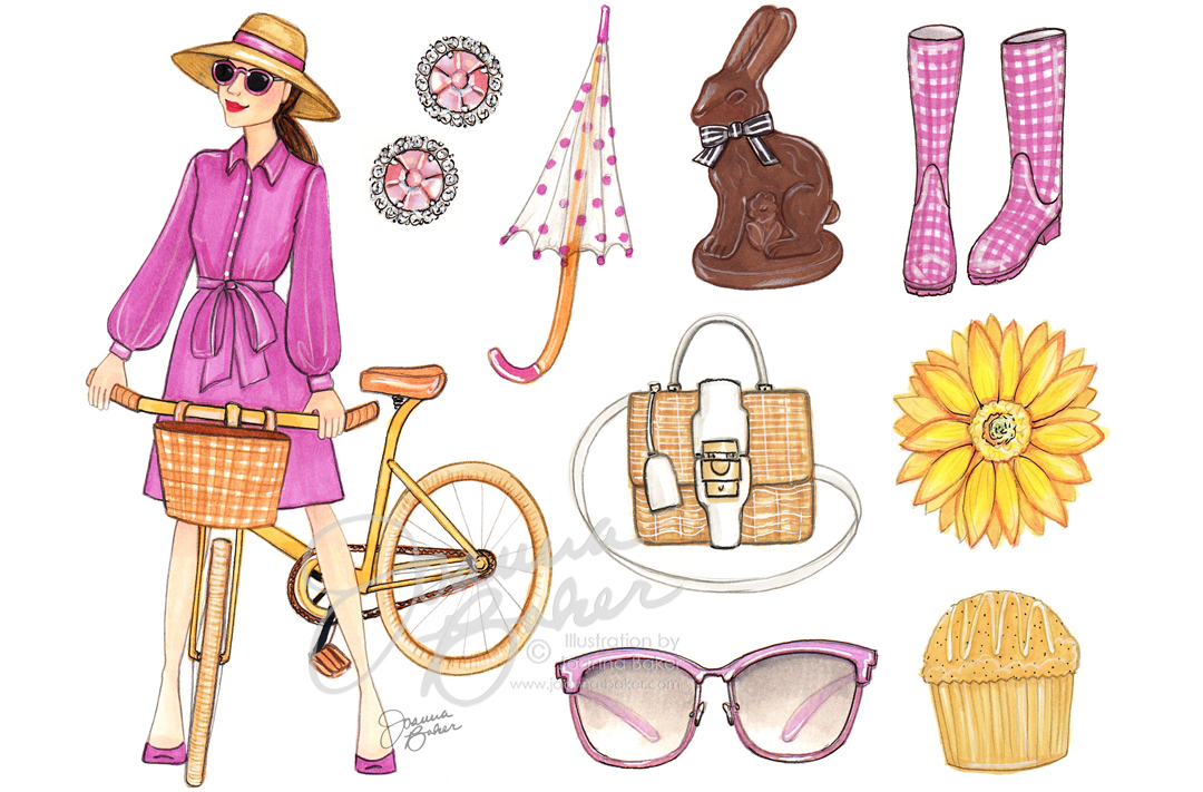 Happy April! Fashion Illustration by Joanna Baker
