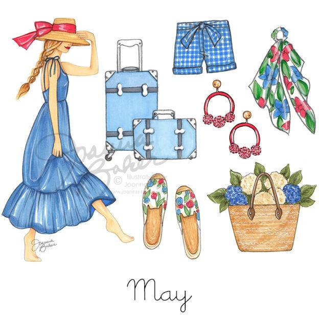 May 2019 Favorite Things Fashion Illustration by Joanna Baker