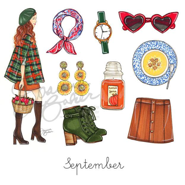 Happy September! Fashion Illustrations by Joanna Baker