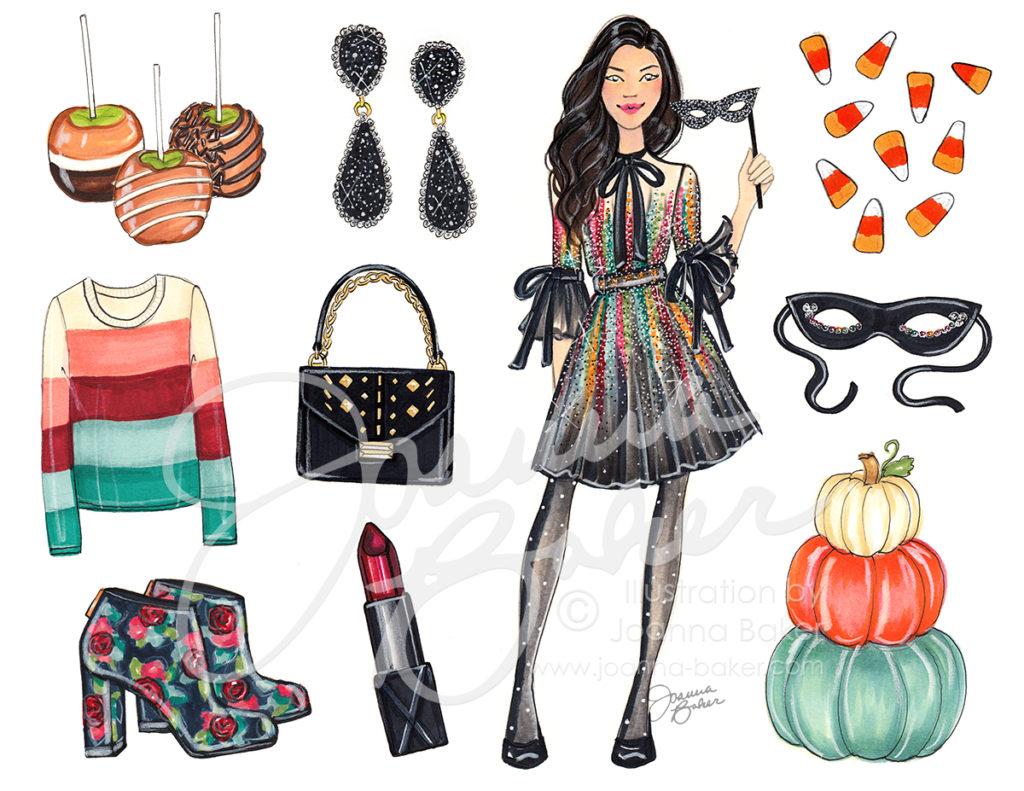 Happy October! Fashion Illustration by Joanna Baker