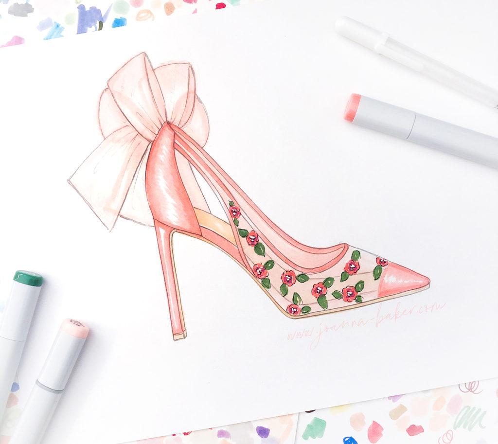 Floral Shoe Illustration by Joanna Baker