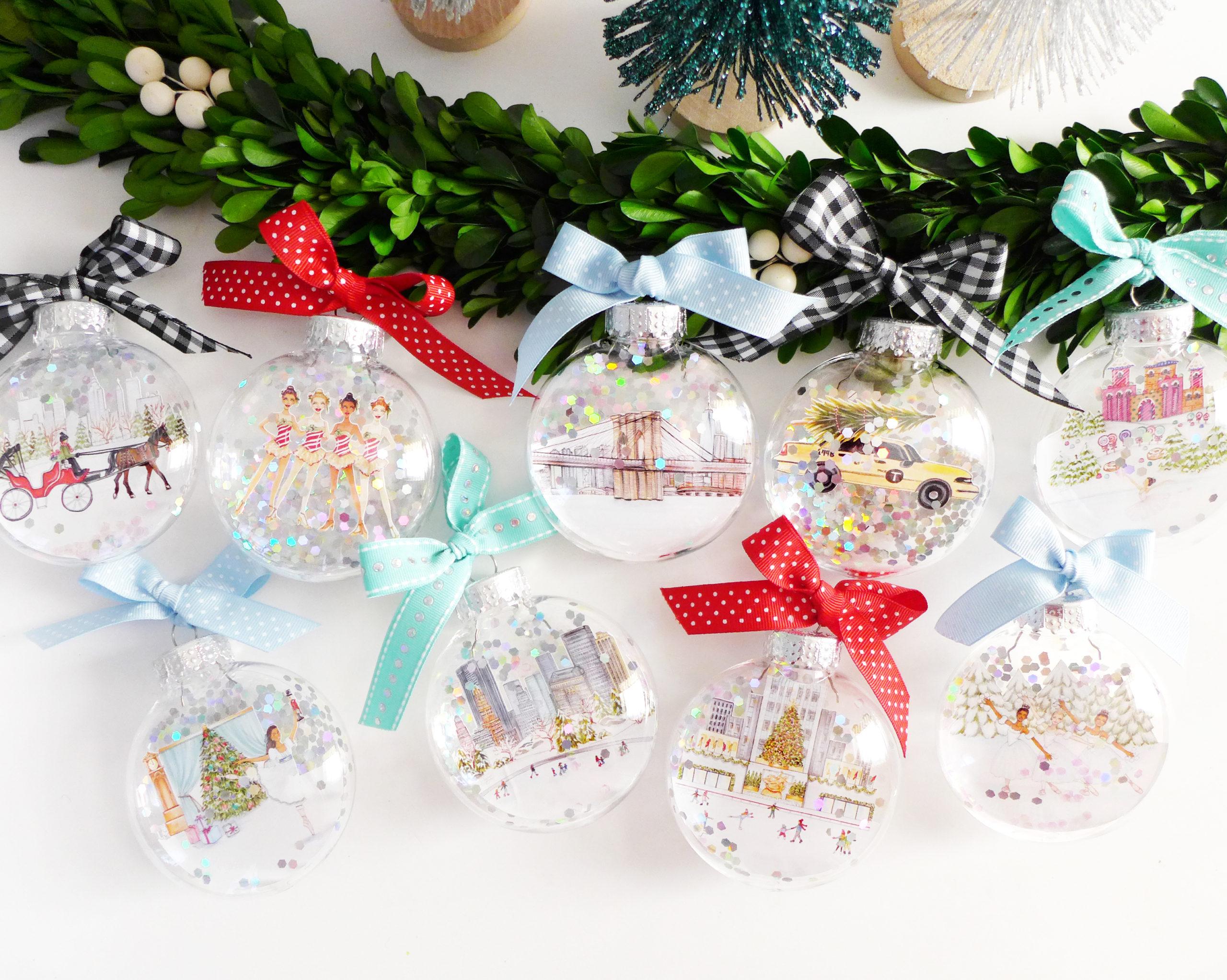 Illustrated Glitter Ornaments by Joanna Baker
