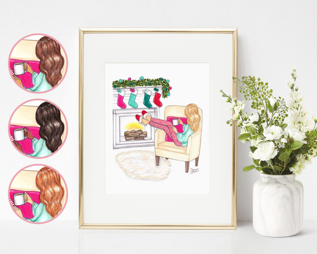 Cozy Christmas Fashion Illustration Art Print by Joanna Baker