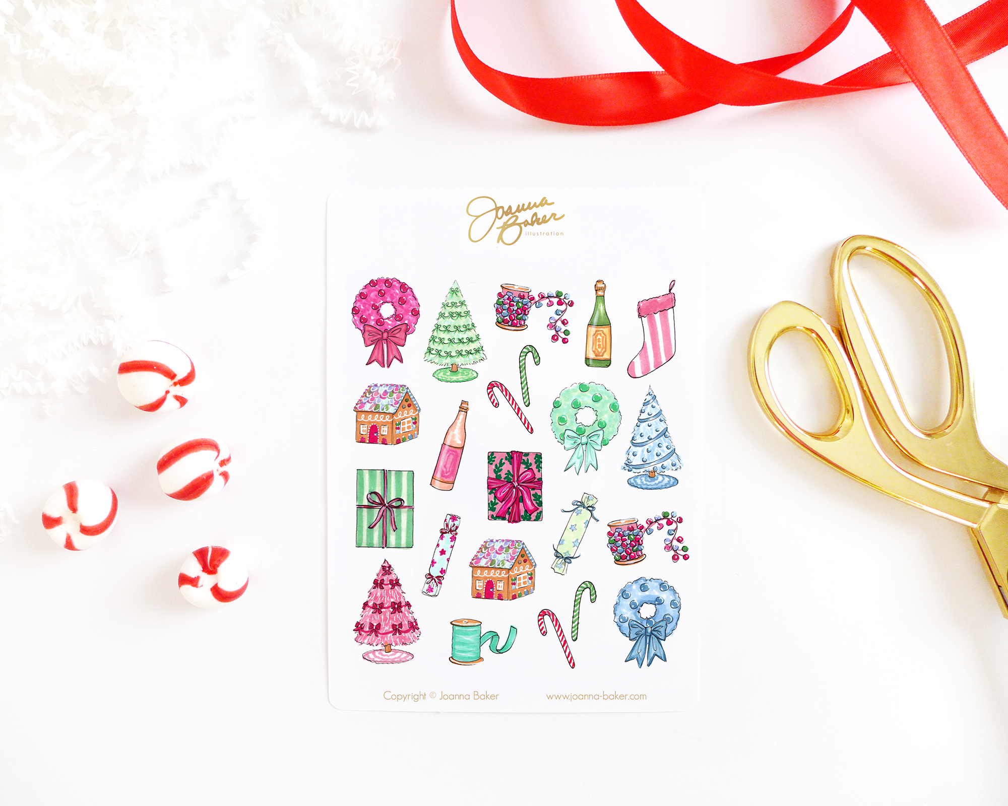 Festive Trimmings Holiday Stickers by Joanna Baker