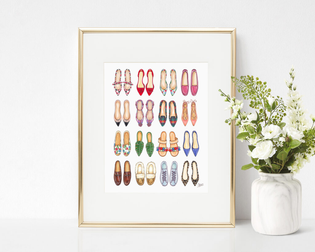 All the Shoes (Flats) Fashion Illustration Art Print by Joanna Baker